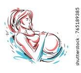 pregnant female body shape hand