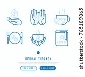 herbal therapy thin line icons... | Shutterstock .eps vector #765189865