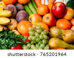 colorful fruits and vegetables... | Shutterstock . vector #765201964