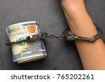 woman hand and us dollar... | Shutterstock . vector #765202261