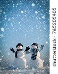 christmas snowman couple of spy ... | Shutterstock . vector #765205405