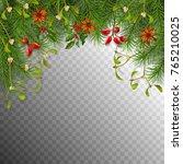 christmas vector spruce border. ... | Shutterstock .eps vector #765210025