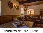 public room  in a historic inn  ... | Shutterstock . vector #765213709