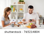 technology  eating and people... | Shutterstock . vector #765214804
