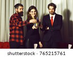 happy friends  pretty girl and... | Shutterstock . vector #765215761