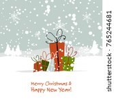 christmas gifts  greeting card... | Shutterstock .eps vector #765244681