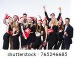 happy young friends in black... | Shutterstock . vector #765246685