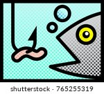 fish and bait. vector