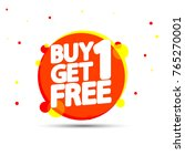 buy 1 get 1 free  sale tag ... | Shutterstock .eps vector #765270001