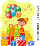 birthday party  happy boy with... | Shutterstock . vector #76527109