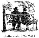 elderly couple resting on a... | Shutterstock . vector #765276601