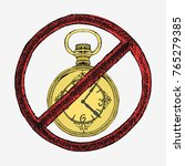 vintage gold pocket watch. hand ... | Shutterstock .eps vector #765279385