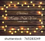 merry christmas wood board with ... | Shutterstock .eps vector #765283249