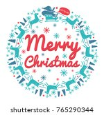 christmas wreath with text.... | Shutterstock .eps vector #765290344
