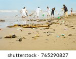 people cleaning trashy polluted ... | Shutterstock . vector #765290827