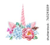 watercolor floral bouquet with  ... | Shutterstock . vector #765293059