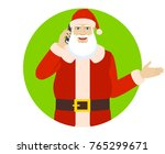 santa claus talking on the... | Shutterstock .eps vector #765299671