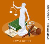 isometric law and justice... | Shutterstock .eps vector #765302209
