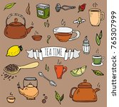 hand drawn doodle tea time icon ... | Shutterstock .eps vector #765307999