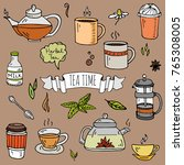 hand drawn doodle tea time icon ... | Shutterstock .eps vector #765308005