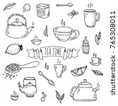 hand drawn doodle tea time icon ... | Shutterstock .eps vector #765308011