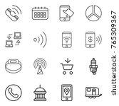 thin line icon set   call ...