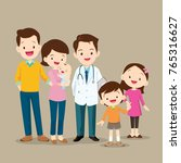 cute family visiting the doctor.... | Shutterstock .eps vector #765316627