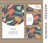 set of cards on tropical jungle ... | Shutterstock .eps vector #765319339