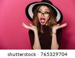 image of young shocked lady...   Shutterstock . vector #765329704