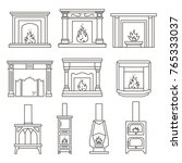 set of fireplaces and stoves... | Shutterstock .eps vector #765333037