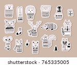 vector christmas stickers with  ... | Shutterstock .eps vector #765335005