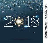 2018   happy new year lettering ... | Shutterstock .eps vector #765339784