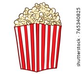 cartoon popcorn in red and... | Shutterstock .eps vector #765340825