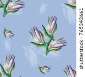 bud lilies on a blue background....   Shutterstock . vector #765342661