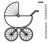 stroller. baby icon on a white... | Shutterstock .eps vector #765344245