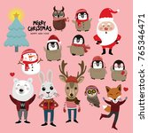 christmas character set include ... | Shutterstock .eps vector #765346471