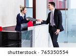job applicant at business front ... | Shutterstock . vector #765350554