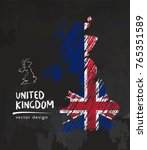 great britain map with flag... | Shutterstock .eps vector #765351589