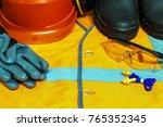 close up of goggles  helmet ...   Shutterstock . vector #765352345