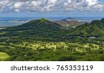 Small photo of View from Nuuanu Pali Overlook of Kaneohe Bay and surrounding countryside on the southeast coast of Oahu, Hawaii