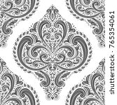 black and white damask vector... | Shutterstock .eps vector #765354061