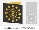 card with floral geometrical... | Shutterstock .eps vector #765356665