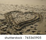 Heart Drawn On Sand With...