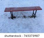bench in snow   Shutterstock . vector #765373987