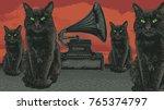 surreal design with devil cats... | Shutterstock .eps vector #765374797