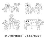 children in the lesson of... | Shutterstock .eps vector #765375397