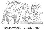 hand drawn cute cats reading... | Shutterstock .eps vector #765376789