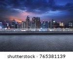 empty floor platform with night ... | Shutterstock . vector #765381139