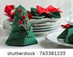 green christmas tree napkin... | Shutterstock . vector #765381235