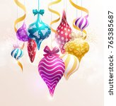 christmas tree decorations. new ... | Shutterstock .eps vector #765385687